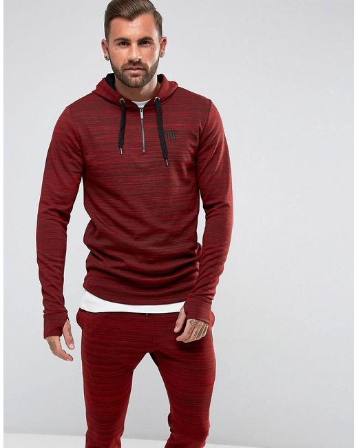 11 Degrees | Red Track Hoodie In Burgundy With Half Zip for Men | Lyst