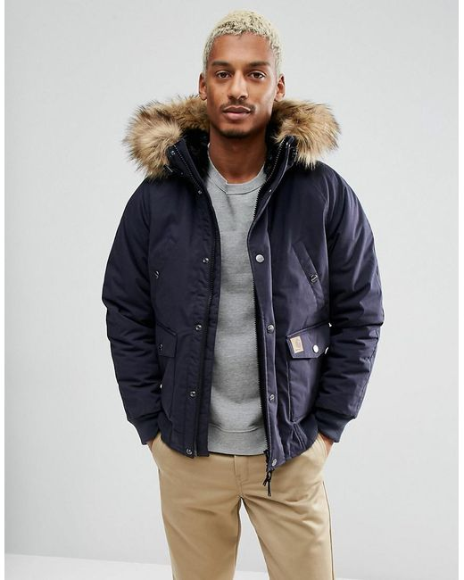 Carhartt WIP | Blue Trapper Jacket With Corduroy Elbow Patches for Men | Lyst