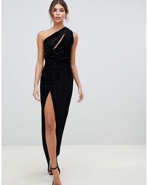 07e9b880677f1 ASOS - Black One Shoulder Sparkle Velvet Maxi Dress - Lyst ...