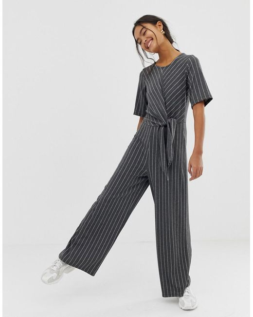 1fe202bcb313 ASOS - Gray Jumpsuit With Tie Side In Stripe - Lyst ...