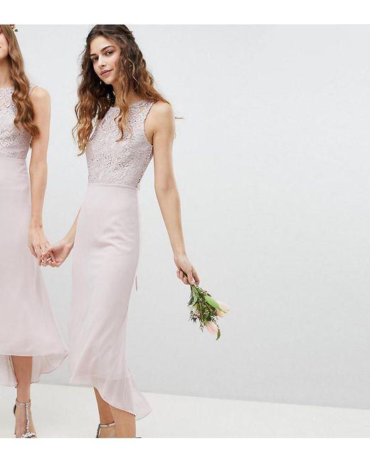 TFNC London - Brown Lace Up Back Midi Bridesmaid Dress - Lyst