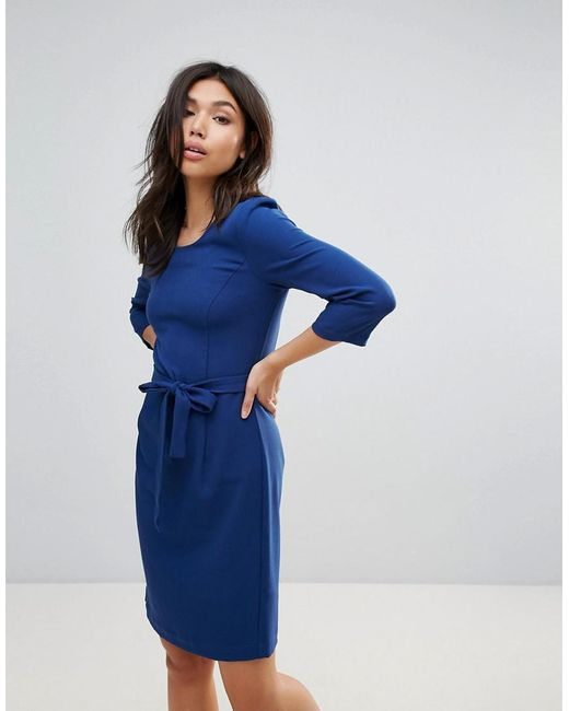 Ichi | Blue Waist Tie Dress | Lyst