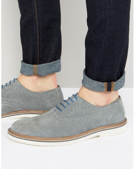 Dune | Gray Brooklyn Heights Brogues In Grey Suede for Men | Lyst