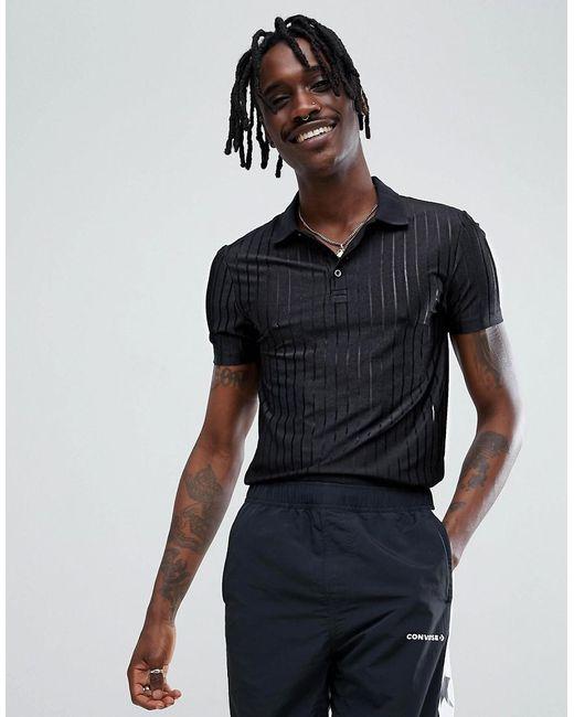 ASOS - Black Muscle Fit Polo Shirt In Sheer Mesh Rib for Men - Lyst