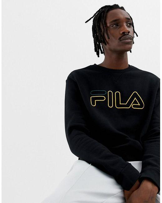 3b4d6ccaf97f Fila - Black Line Basil Sweatshirt With Logo In Black for Men - Lyst ...