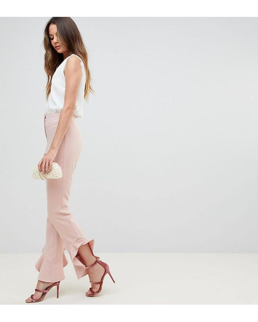 ASOS - Pink Tailored Soft Fluted Slim Pants - Lyst
