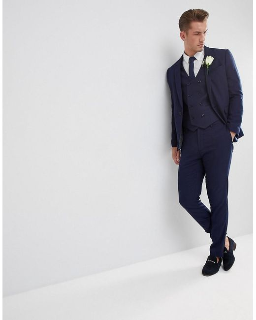 ... ASOS - Blue Wedding Skinny Suit Trouser In French Navy Micro Texture  for Men - Lyst