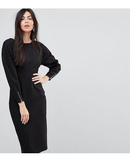 ASOS - Black Long Sleeve Midi Pencil Dress - Lyst