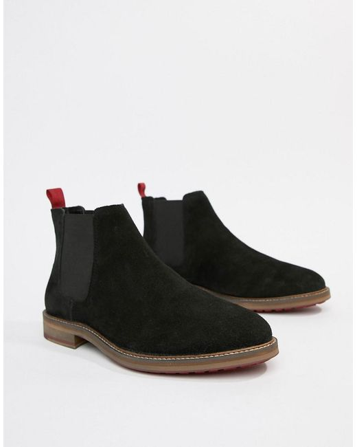 ASOS DESIGN - Chelsea Boots In Black Suede With Red Back Pull for Men - Lyst