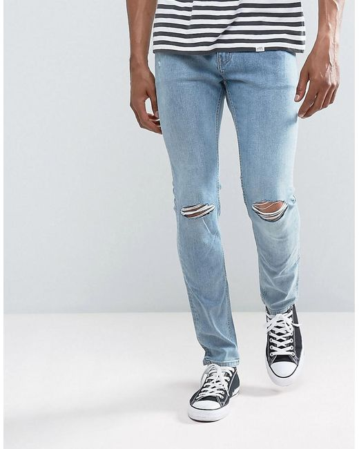 cheap monday tight skinny jeans spear blue knee rip in. Black Bedroom Furniture Sets. Home Design Ideas