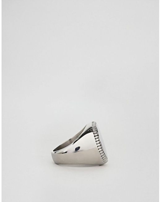 Seven London Silver Signet Ring With White Stone - Silver qIKKJChU