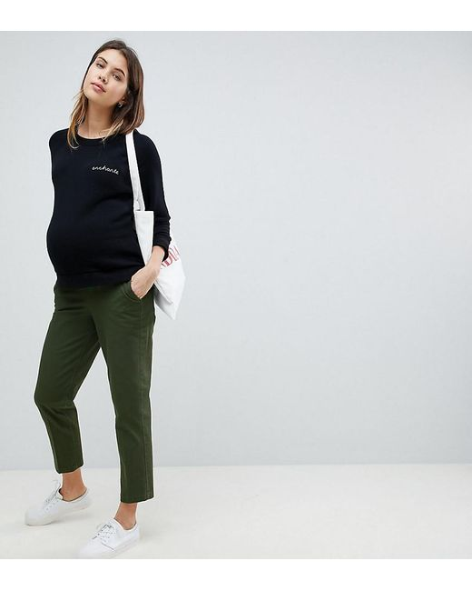 739dd370b8efe ASOS - Asos Design Maternity Mom Chino In Forest Green With Under The Bump  Waistband ...