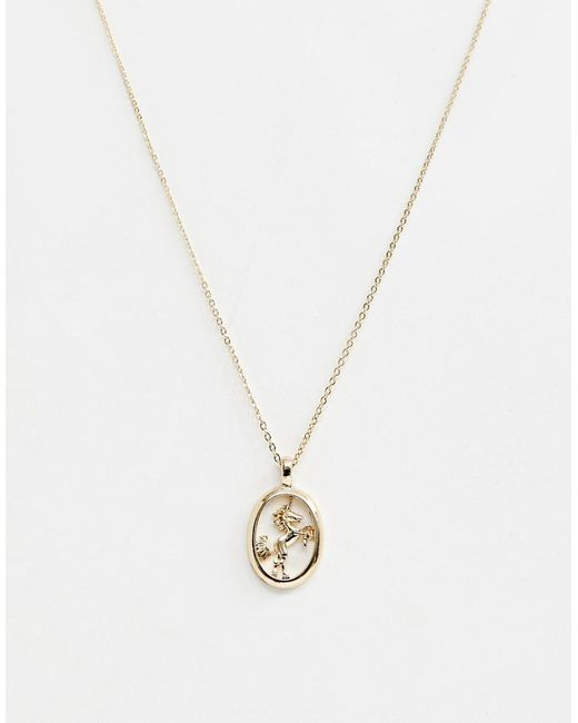 ASOS - Metallic Necklace With Unicorn Pendant In Gold - Lyst