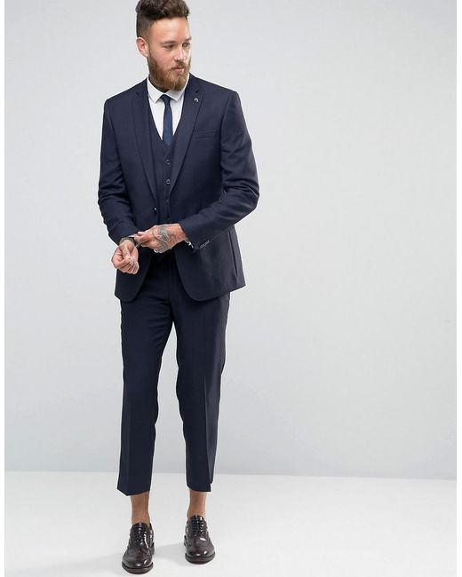 Skinny Cropped Flannel Trousers - Navy Farah 073Dkqg