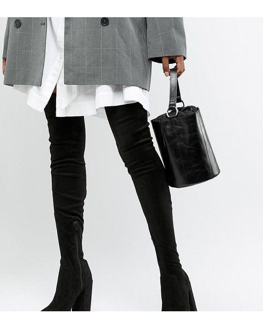 ASOS - Black Asos Design Tall Kassidy Heeled Thigh High Boots - Lyst