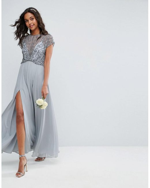 503a0e31c0 ASOS Asos Delicate Beaded Bodice Maxi Dress in Gray - Save 13% - Lyst