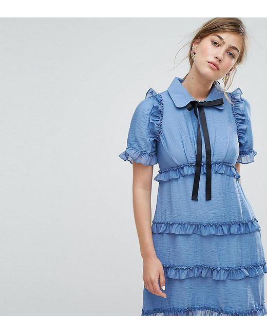 Sister Jane | Blue Tea Dress With Ruffles | Lyst