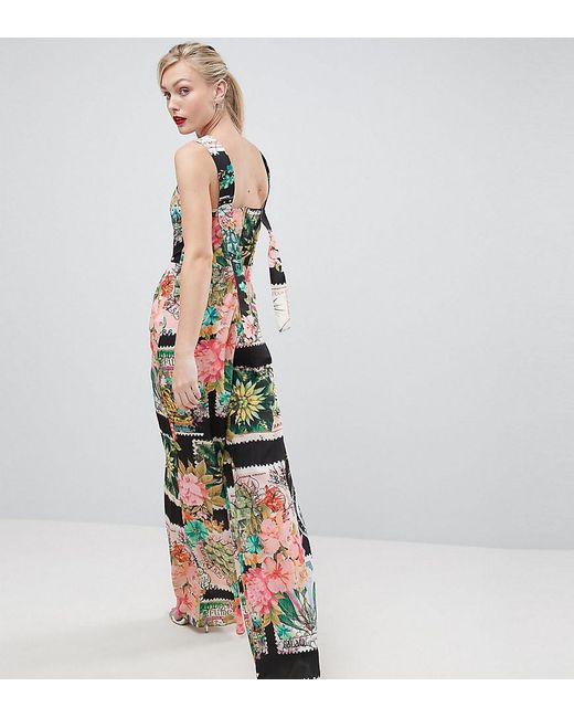 ASOS - Multicolor Square Neck Jumpsuit In Postcard Print - Lyst
