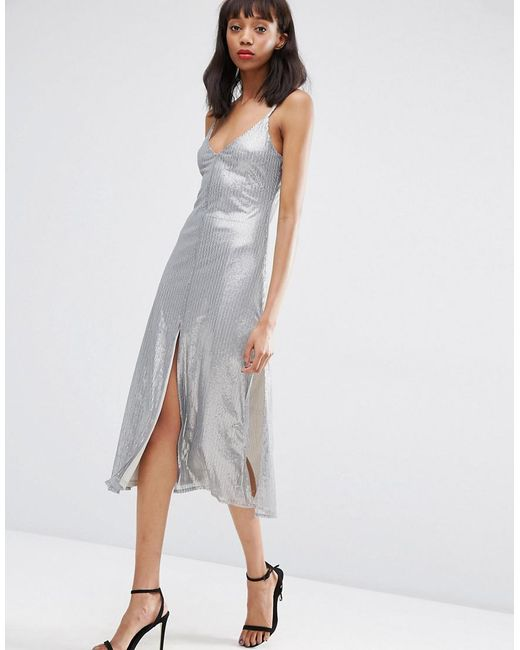 ASOS - Gray Night Embellished Metal Sequin Cami Midi Dress - Lyst