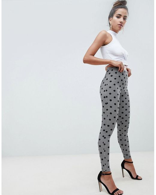 3ee87a2ac8597 ASOS - Multicolor leggings In Houndstooth Check With Polka Dot - Lyst ...