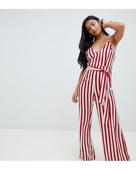 037c2a0aa9 Missguided - White Exclusive Petite Tie Waist Striped Wide Leg Jumpsuit In  Red Stripe - Lyst ...