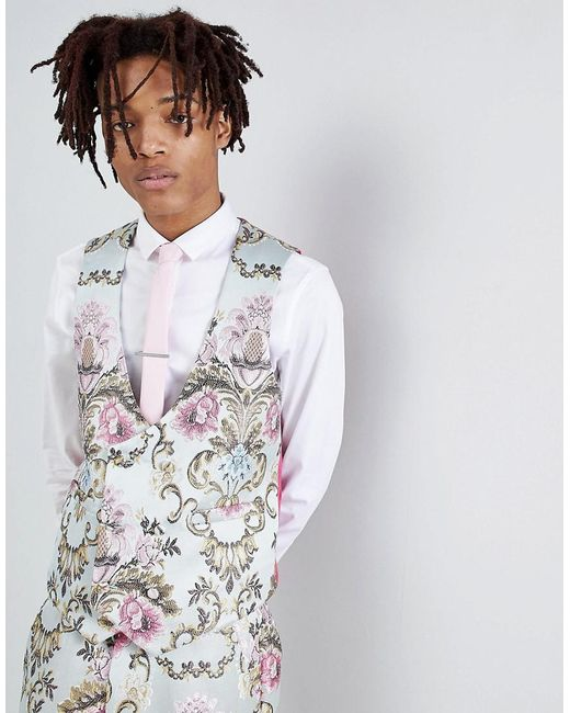 ASOS - Blue Wedding Skinny Suit Waistcoat In Pastel Floral Jacquard for Men - Lyst