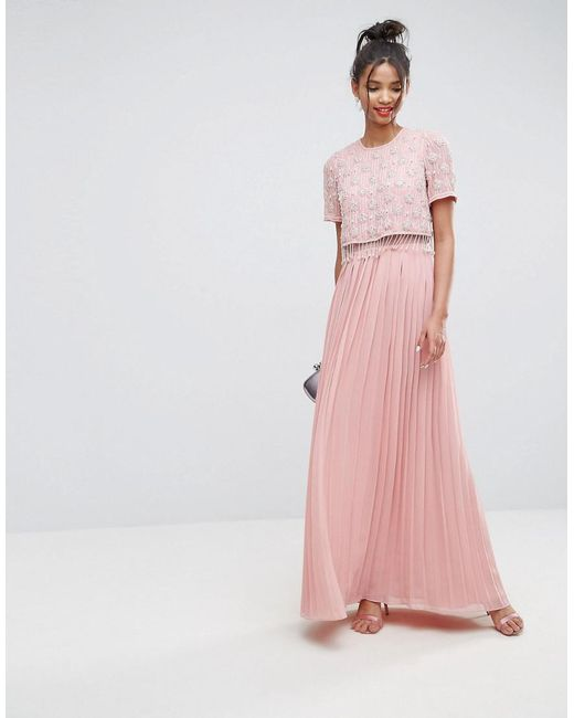 ASOS DESIGN - Pink Asos Embellished Short Sleeve Pleated Maxi Dress - Lyst