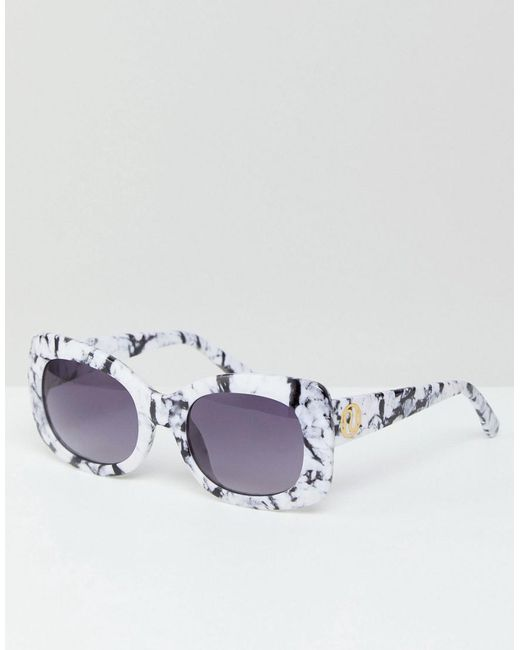 River Island - Multicolor Oversized Square Marble Effect Sunglasses - Lyst