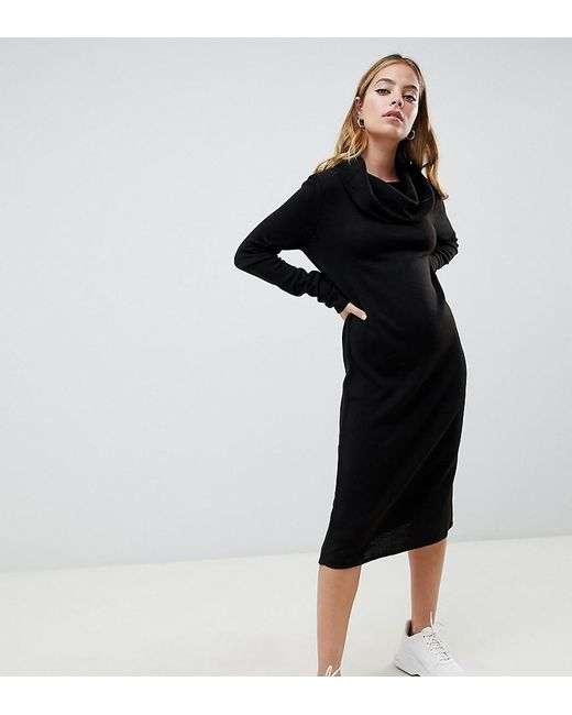 Lyst Asos Asos Design Petite Cowl Neck Knitted Midi Dress With