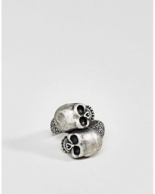 Steve Madden | Metallic Skull Ring for Men | Lyst
