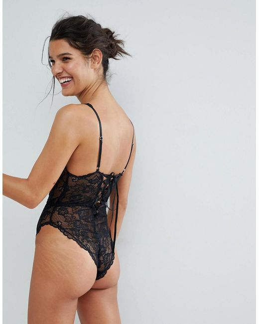 368f033ff5db ... ASOS - Black Blair High Leg Lace Bodysuit With Lace Up Back - Lyst