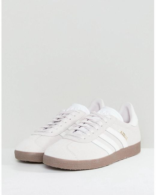 adidas originals white and mint gazelle trainers with gum sole