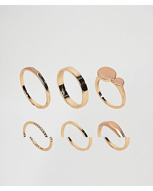 ASOS   Metallic Pack Of 6 Flat Faced And Circle Rings   Lyst