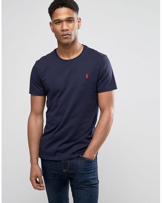 Polo Ralph Lauren - Blue T-shirt With Crew Neck In Navy for Men - Lyst