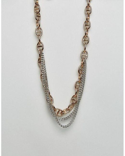 Dyrberg/Kern - Metallic Dyrbergkern Multi Layered Link Necklace - Lyst