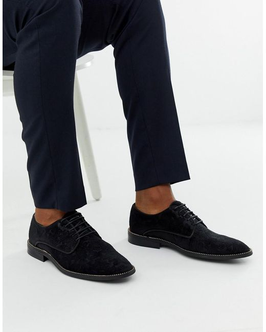 ASOS Derby Shoes In Black Jacquard With Chain Sole for men