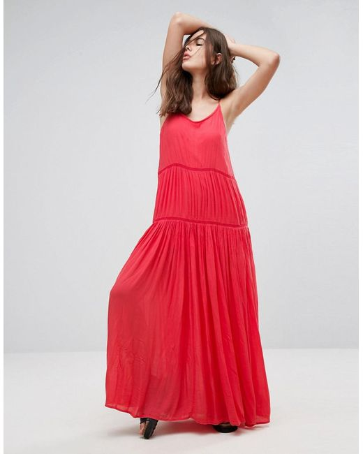 Orange and red maxi dress