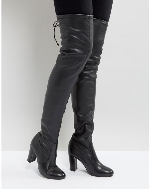 Dune - Black Sybil Leather Over Knee Boots - Lyst