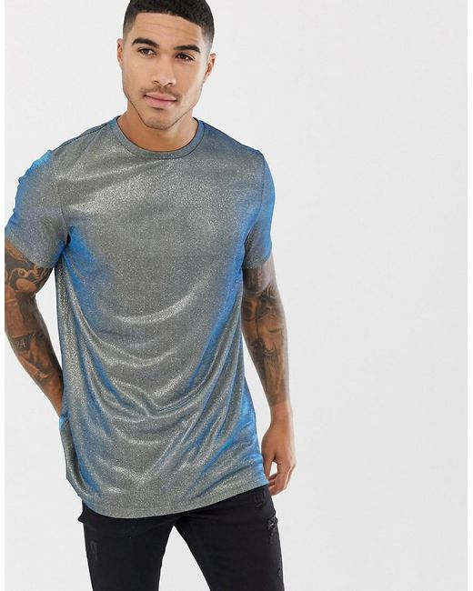 0f4787a4a555 ASOS - Longline T-shirt In Iridescent Metallic Fabric for Men - Lyst ...