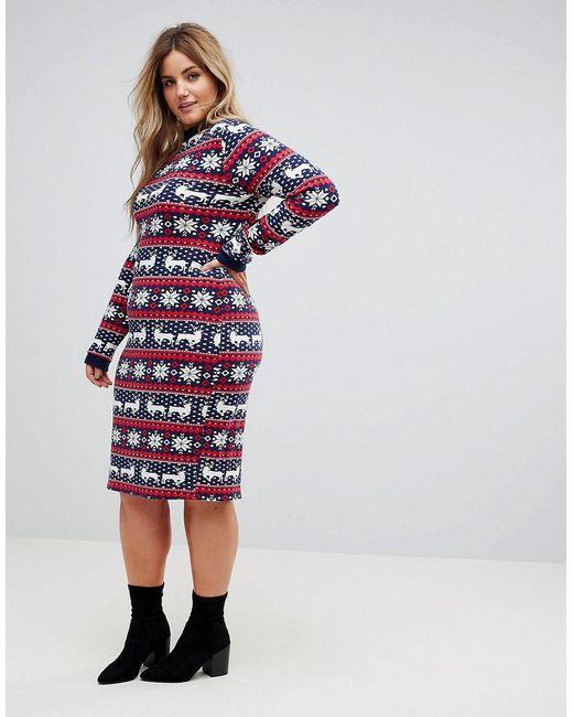 Lyst - Club l Plus Fairisle Christmas Jumper Dress