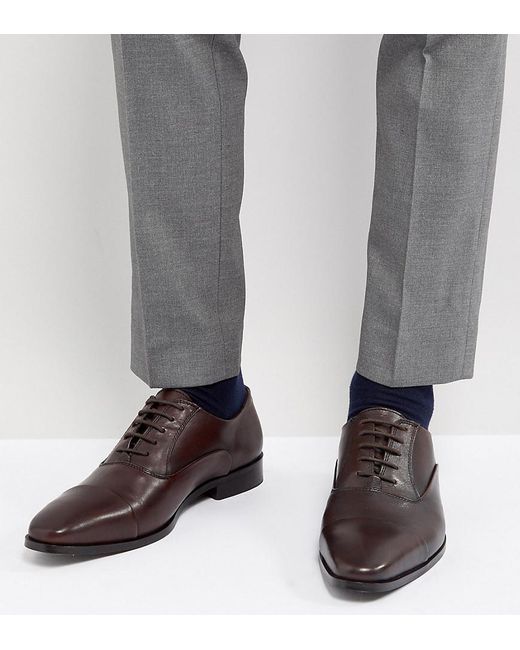 Dune - Wide Fit Toe Cap Derby Shoes In Brown Leather for Men - Lyst
