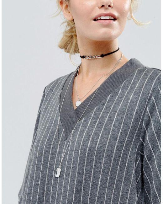 Monki | Metallic Multirow Choker Necklace | Lyst