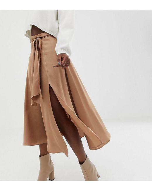 dd9095e77b ASOS - Brown Asos Design Petite Satin Midi Skirt With Self Belt - Lyst ...