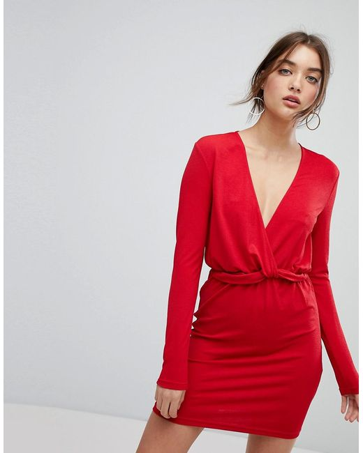 Ivyrevel - Red Long Sleeved Dress With Ruffle Waist - Lyst