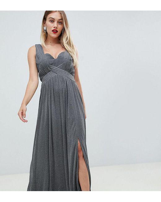 Little Mistress - Metallic Jersey Maxi Dress With Wrap Detail - Lyst