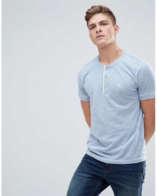 Lyst abercrombie fitch henley t shirt contrast placket for Abercrombie logo t shirt