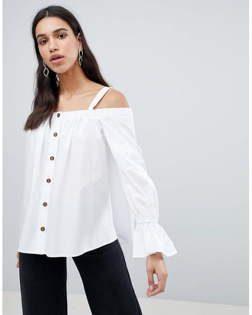 ASOS - White Premium Cotton Off Shoulder Top With Contrast Buttons - Lyst