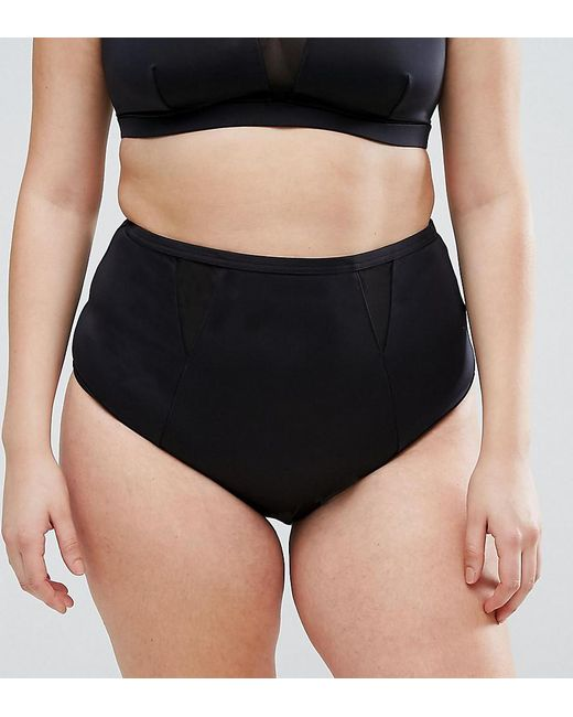 Asos Mesh Insert Supportive Bikini Bottom in Black