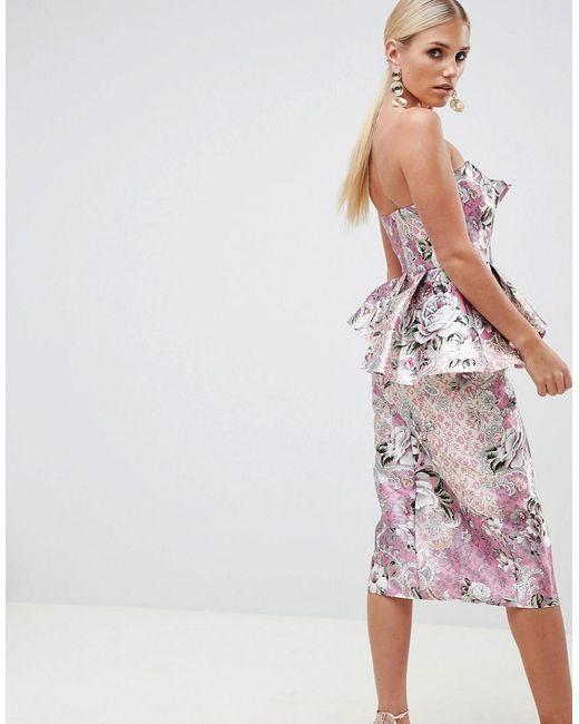 fcfdea1c039 ... ASOS - Pink Structured Bandeau Midi Dress In Wallpaper Floral Print -  Lyst