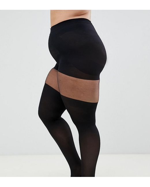 afb8d61c5b2 ASOS - Black Asos Design Curve Mock Over The Knee Tights With Support -  Lyst ...